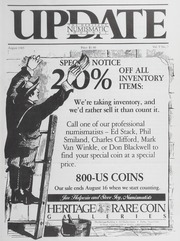 The Heritage Numismatic Journal Update: August 1985