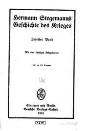 Hermann Stegemanns Geschichte des Krieges ..