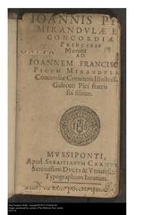 Giovanni Pico della Mirandola: his life by his nephew Giovanni ...