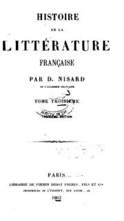 Vol 3: Histoire de la littérature française