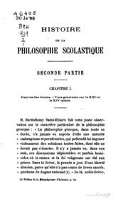 Histoire de la philosophie scolastique, par B. Hauréau ..