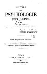 Histoire de la psychologie des Grecs