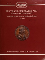 Historical, decorative, and Beaux-Arts medals, including medals from an English collection, Part IV, [containing] several sets of medals by Sir Edward Thomason, in different subjects,  ... [06/06/1990]