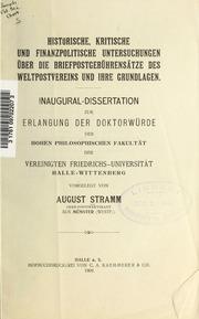 Historische, kritische und finanzpolitische Untersuchungen über die Briefpostgebührensätze des Weltpostvereins und ihre Grundlagen