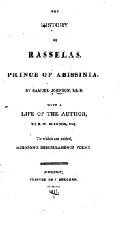 an analysis of the history of rasselas prince of abissinia by samuel johnson Johnson, samuel the history of rasselas,  the prince finds a man of learning rasselas gets acquainted with the poet imlac who tells him about his  analysis.