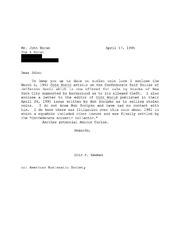 John Horan Correspondence, 1992 to 2000