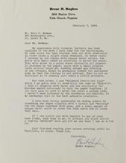 Brent H. Hughes Correspondence, 1964-2000