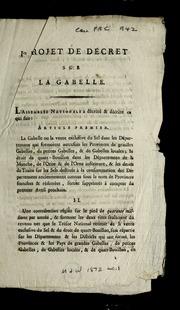 Ier i.e. Premier projet de décret sur la gabelle.