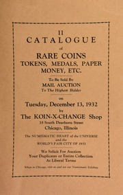 II. Catalogue of rare coins, tokens, medals, paper money, etc., to be sold by mail auction to the highest bidder ... [12/13/1932]