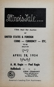 Illinois Sale: 178th Mail Bid Auction of United States & Foreign Coins, Currency, Etc.