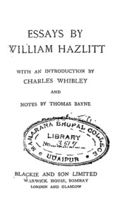 essays by william hazlitt hollingworth g e ed  essays by willam hazlitt