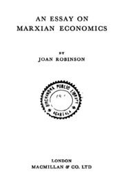 an essay on marxian economics joan robinson  an essay on marxian economics ed 1st