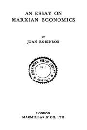 an essay on marxian economics joan robinson  an essay on marxian economics ed 1st