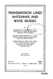 Transmission Lines Antennas And Wave Guides : Mcgraw Hill