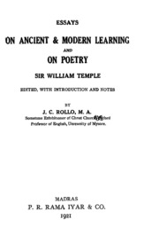 sir william temple s essays on ancient and modern learning and on  essays on ancient amp modern learning and on poetry on sir william ptemple