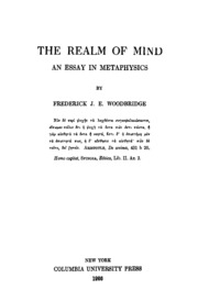 the realm of mind an essay in metaphysics woodbridge frederick  the realm of mind an essay in metaphysics