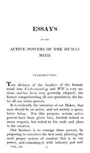 essays on the powers of the human mind vol thomas reid  essays on the powers of the human mind
