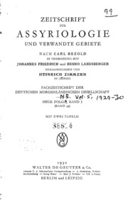 Zeitschrift For Assyriologie n.s. Vol.5