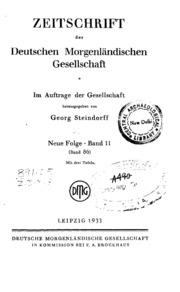 Zeitschrift Der Deutschen Morgenlandischen Gesellschaft Band.11