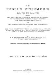 An Indian Ephemeris Ad 700 To Ad 1799 Vol Iv : Bahadur,diwan