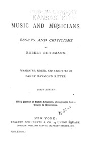 music and musicians essays and criticisms schumann robert music and musicians essays and criticisms