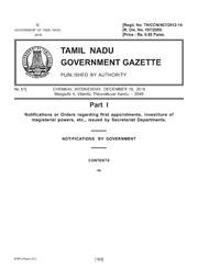 Tamil Nadu Gazette, 2018-12-19, Ordinary, Part I, Number 51