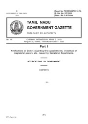Tamil Nadu Gazette, 2019-04-03, Ordinary, Part I, Number 14