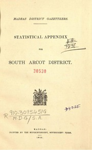 Madras district gazetteers statistical appendix for South Arcot