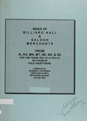 Index of Billiard Hall & Saloon Merchants: From IA, KS, MN, MT, NE, ND and SD