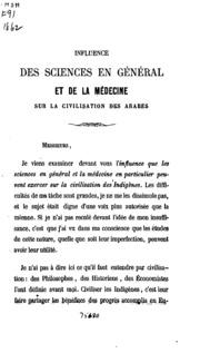 Influence des sciences en général et de la médecine sur la civilisation des ...