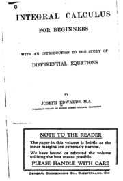 integral calculus for beginners by joseph edwards pdf