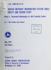 Integrated Motorist Information System Imis Feasibility And Design Study Phase Ii Generalized Methodology For Stus Zove