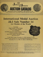 International Medal Auction: J & J Sale Number 14, Art Medals of the World