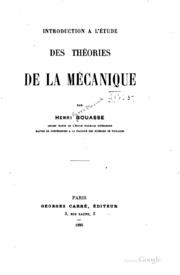Introduction à l-étude des théories de la mécanique