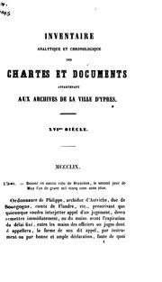 Inventaire analytique et chronologique des chartes et documents appartenant aux archives de la ...