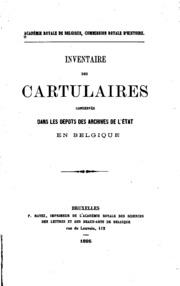Inventaire des cartulaires conservés dans les dépôts des archives de l-État en Belgique