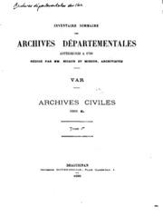 Inventaire sommaire des Archives départementales antérieures a 1790