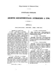 Inventaire-sommaire des archives départementales antérieures à 1790 ...