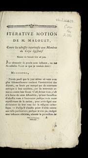 Itérative motion de M. Malouet, contre les adresses injurieuses aux membres du corps législatif : séance du samedi soir 26 juin.