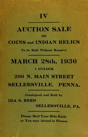 IV. Auction sale of coins and Indian relics ... Sellersville, PA. [03/28/1936]