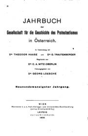 Jahrbuch der Gesellschaft für die Geschichte des Protestantismus in Oesterreich