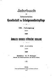 Jahrbuch der schweizerischen Gesellschaft für Schulgesundheitspflege ...