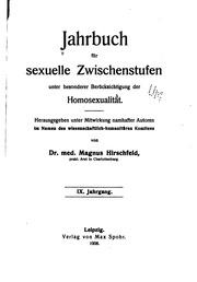 Jahrbuch für sexuelle Zwischenstufen unter besonderer Berücksichtigung der Homosexualität
