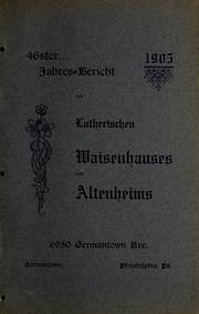 Vol 46: Jahres-Bericht des Lutherischen Waisenhauses u. Altenheims