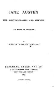 jane austen her contemporaries and herself an essay in criticism  jane austen her contemporaries and herself an essay in criticism