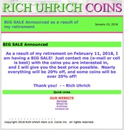January 13, 2018 - BIG SALE Announced as a result of my Retirement