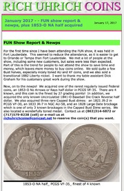 January 2017 - FUN show report and Newps, plus 1853-O No Arrows half acquired