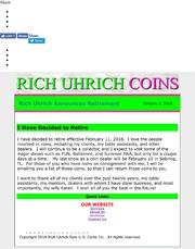 January 7, 2018 - Rich Uhrich Announces Retirement