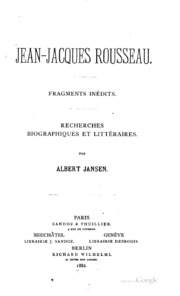 Jean-Jacques Rousseau. Fragments inedits