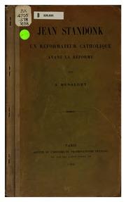 Jean Standonk: un réformateur catholique avant la réforme